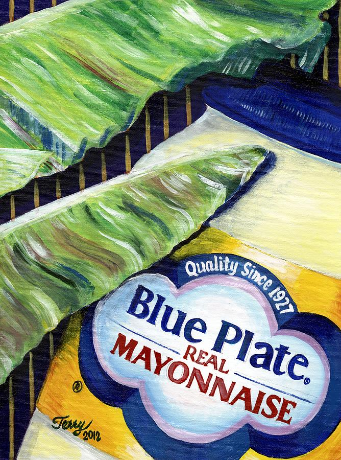 New Orleans Painting - Banana Leaf Series - Blue Plate Mayo by Terry J Marks Sr