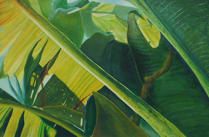 Leaf Painting - Banana Leaves by Leonard Aitken