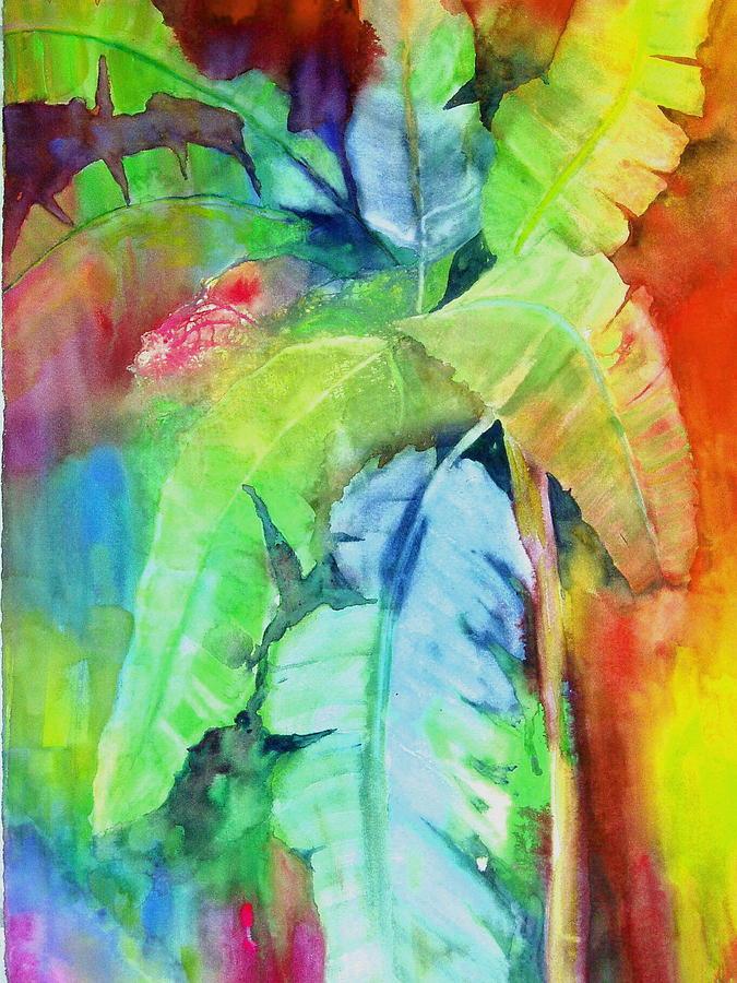Tropical Tree Painting - Banana Leaves by Maritza Bermudez
