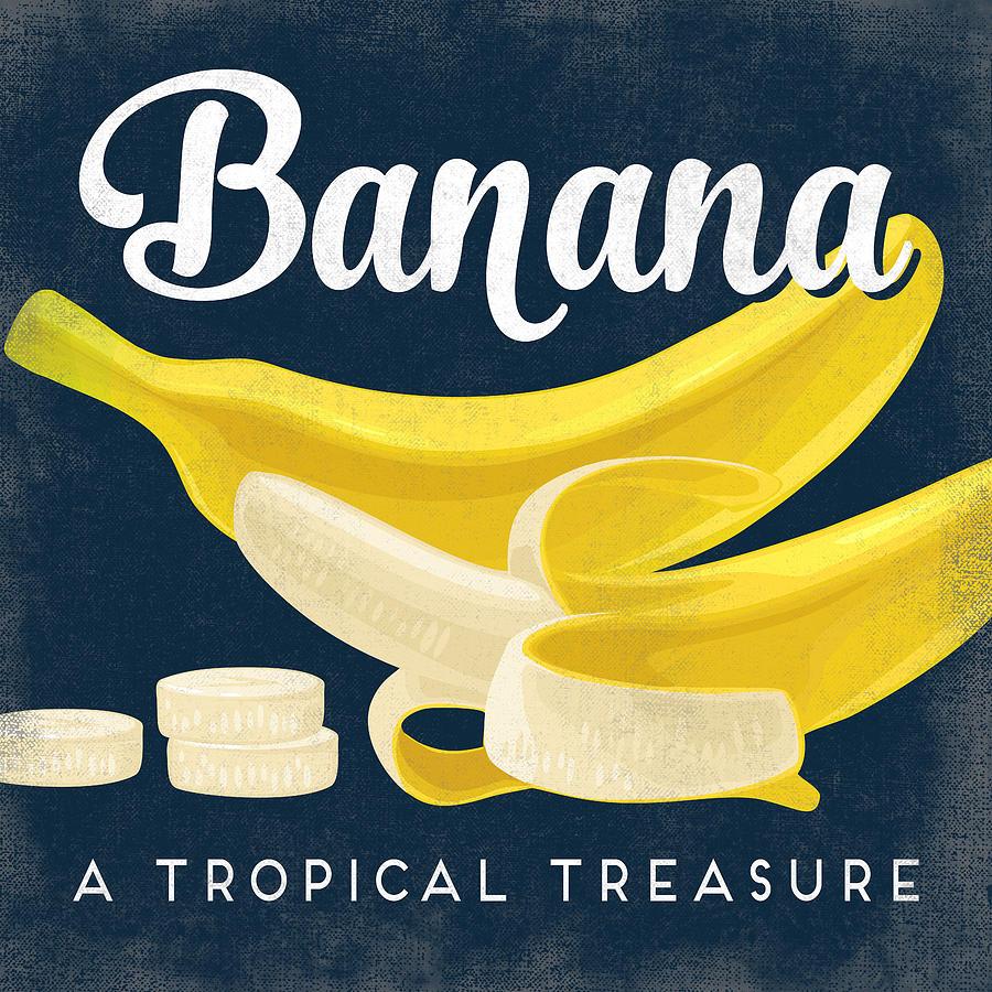 Banana Vintage Fruit Label Digital Art by Flo Karp