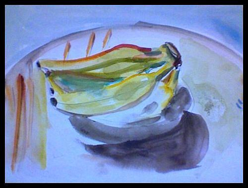 Watercolor Painting - Bananas by Denise Katz