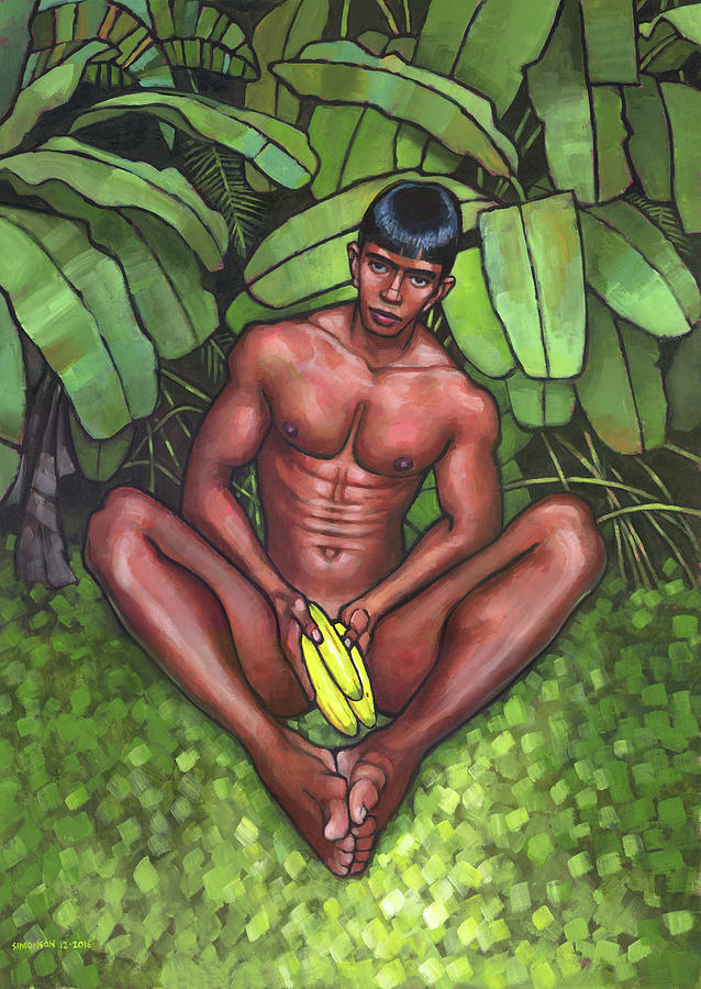 Male Nude Painting - Bananas by Douglas Simonson