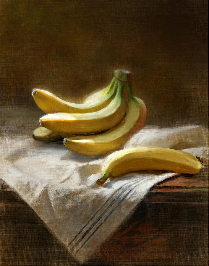 Still Life Painting - Bananas On White by Robert Papp