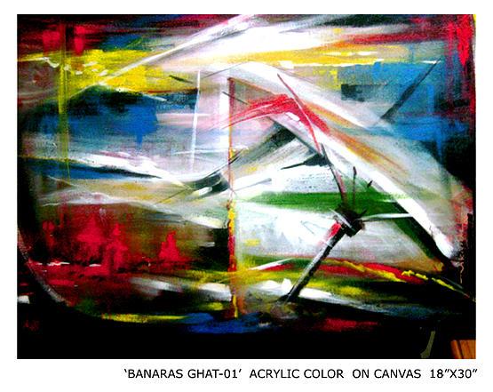 Color Painting - Banaras Ghat-01  by Vikram Kumar