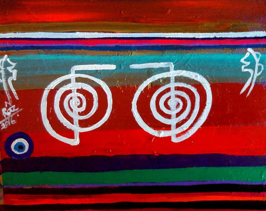 Reiki Symbol Painting - Bands Of Healing Two Cho Ku Reis by Rizwana Mundewadi