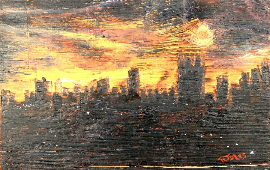 Bangkok Painting - Bangkok City Sunset Glow by Richard Jules