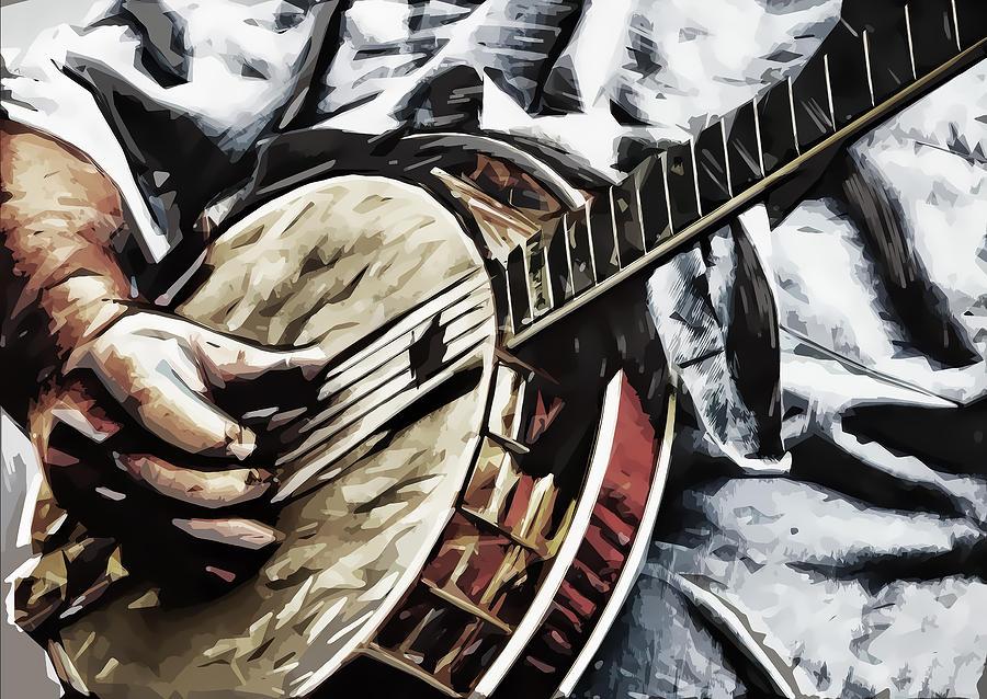 Banjo Digital Art - Banjoed by Tilly Williams