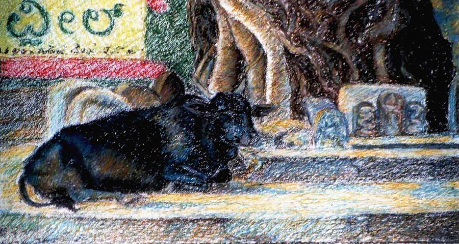 Bull Painting - Banyan Tree Bull by Claudio  Fiori