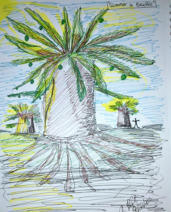 Baobab Trees Drawing - Baobab Grove by Andrew Blitman