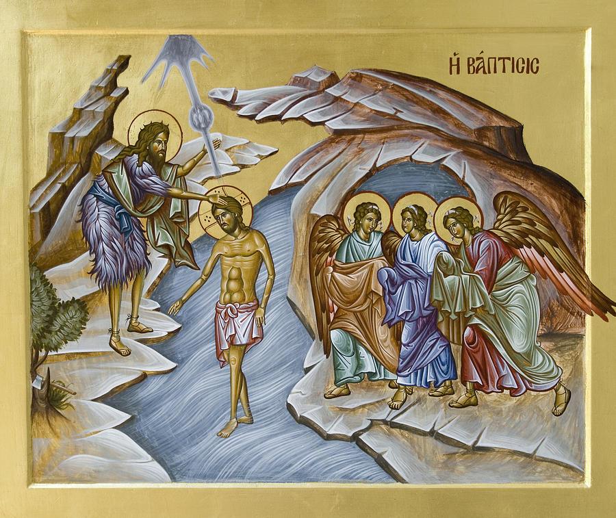 Icon Painting - Baptism  by Julia Bridget Hayes