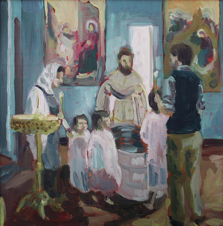 Orthodox Painting - Baptism by Laura Wilson
