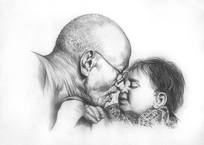 Bapu Drawing by Vijay Shrimali