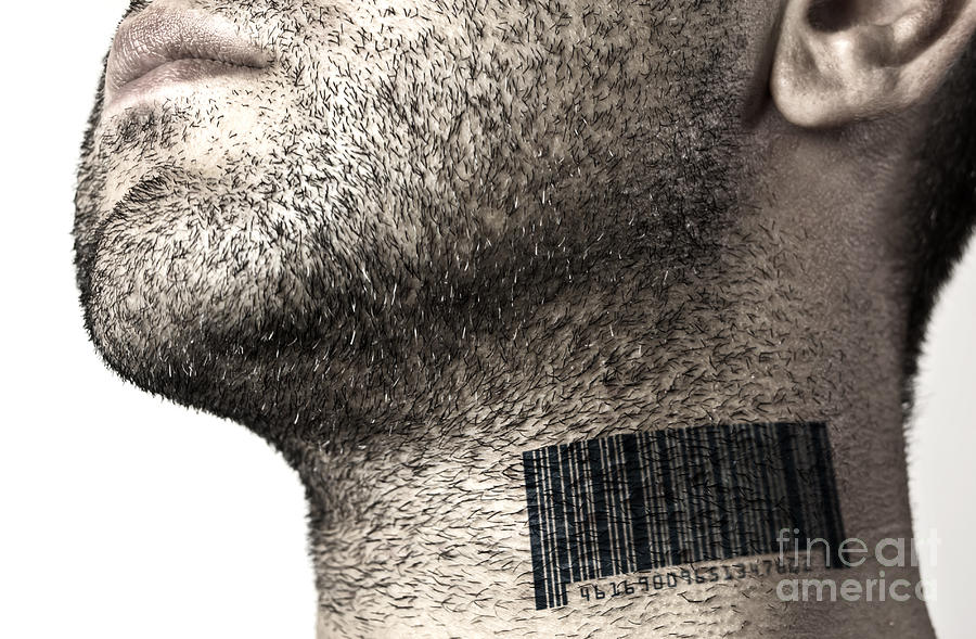 Bar Code Photograph - Bar Code On Neck by Blink Images