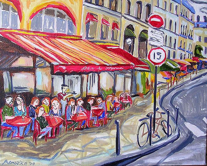 Sidewalk Cafe Painting - Bar Du Marche by Nancy Rourke