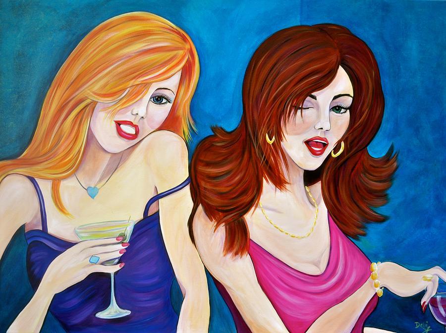 Women Painting - Bar Flirts by Debi Starr