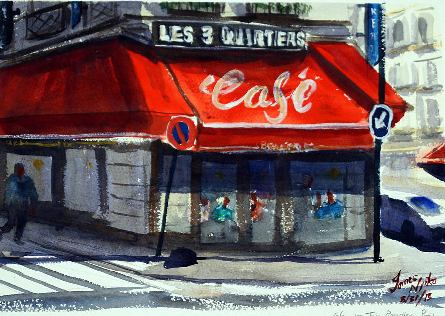 Cafe Painting - Bar Les 3 Quartiers by James Nyika