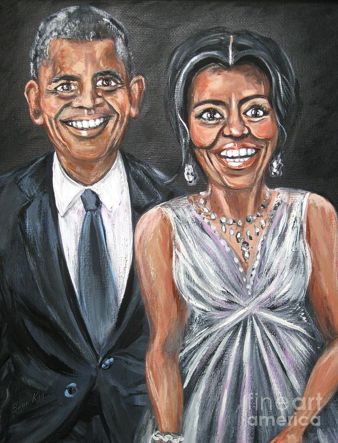 Barack and Michelle Obama. Painting by Oksana Semenchenko