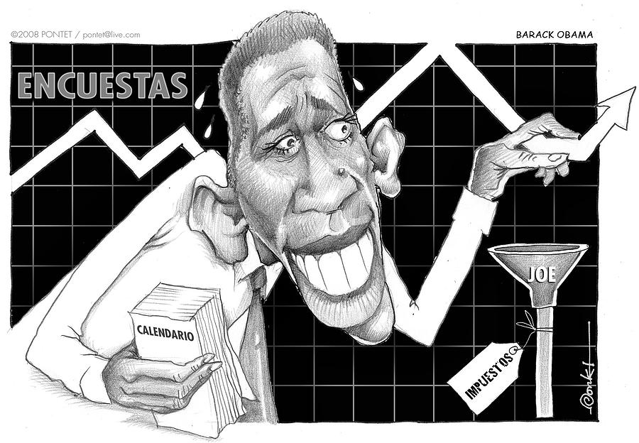 Cartoon Drawing - Barack Obama by Caricatures By PONTET