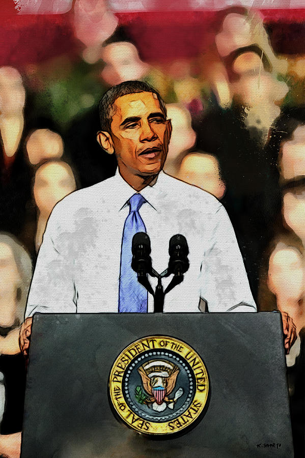 President Digital Art - Barack Obama by Kai Saarto
