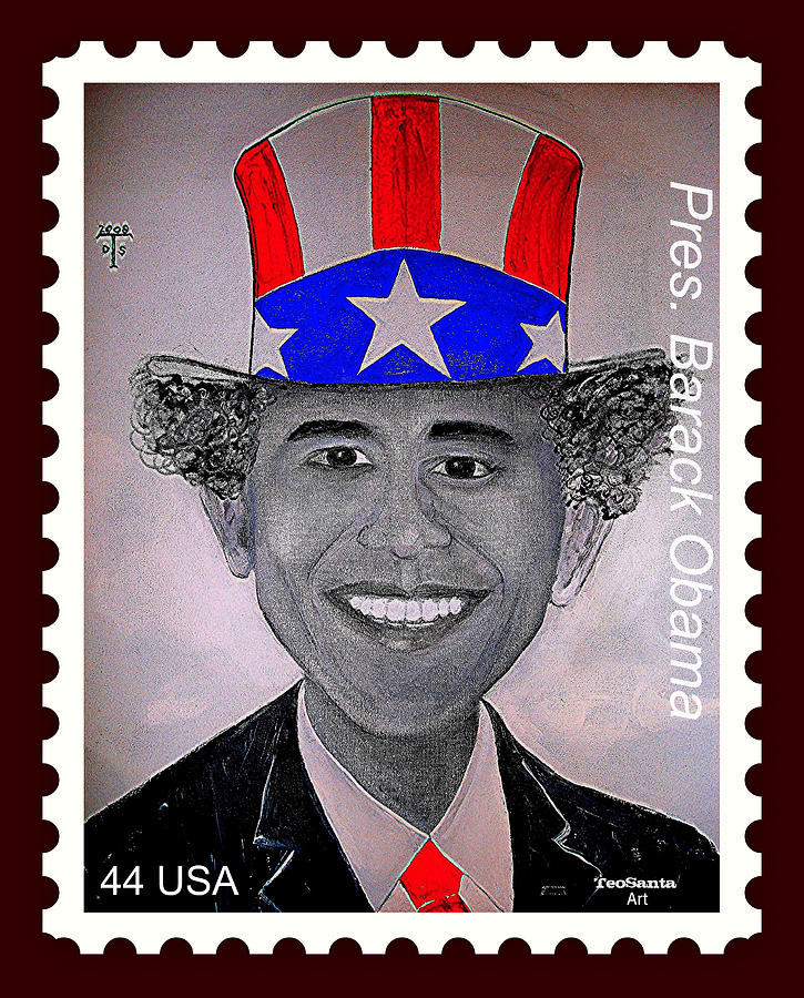 Barack Obama Digital Art - Barack Obama Postage Stamp by Teodoro De La Santa