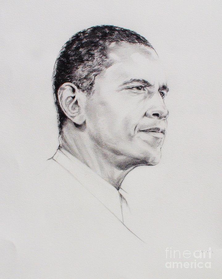 President Drawing - Barack Obama by W James Taylor