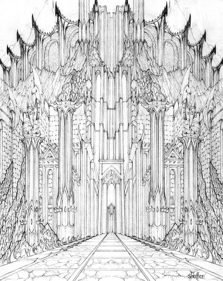 Barad-dur Drawing - Barad-dur Gate Study by Curtiss Shaffer
