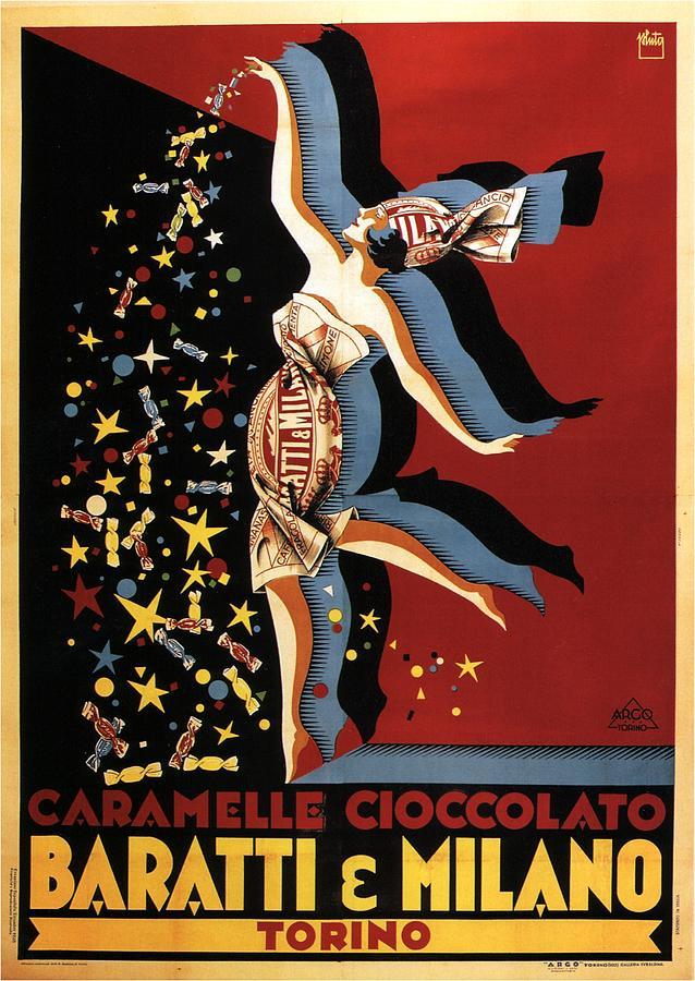 Torino Mixed Media - Baratti and Milano - Torino, Italy - Vintage Chocolate Advertising Poster by Studio Grafiikka