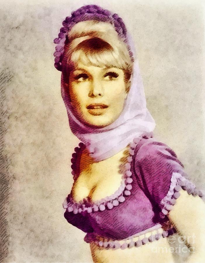 Barbara Eden, Vintage Actress By John Springfield Painting