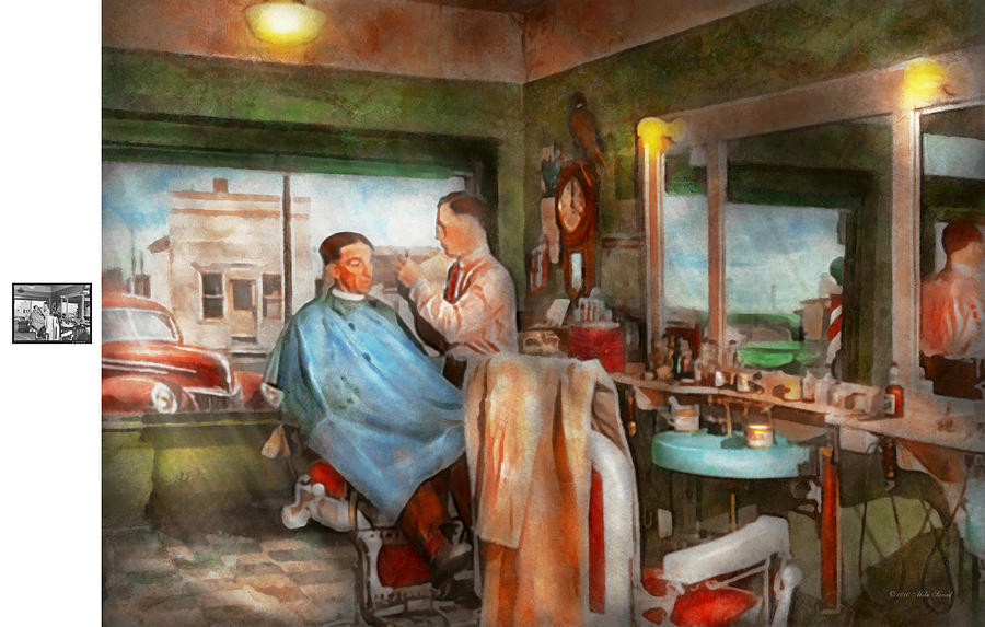 Barber Photograph - Barber - Getting A Trim 1942 - Side By Side by Mike Savad