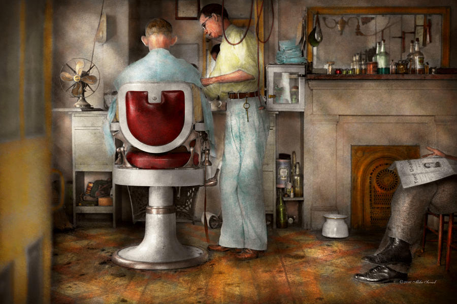 Barber Photograph - Barber - Our Family Barber 1935 by Mike Savad