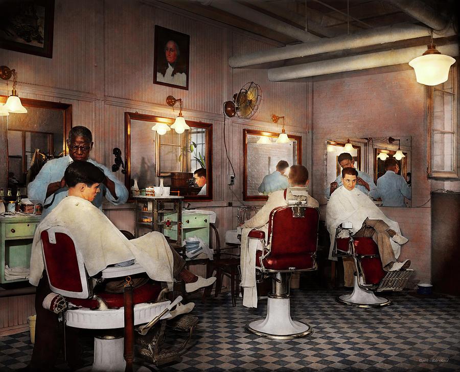 Barber Photograph - Barber - Senators-only Barbershop 1937 by Mike Savad