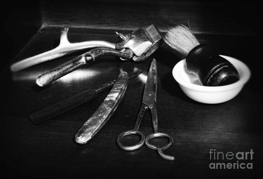 Barber - Things In A Barber Shop Photograph - Barber - Things In A Barber Shop - Black And White by Paul Ward