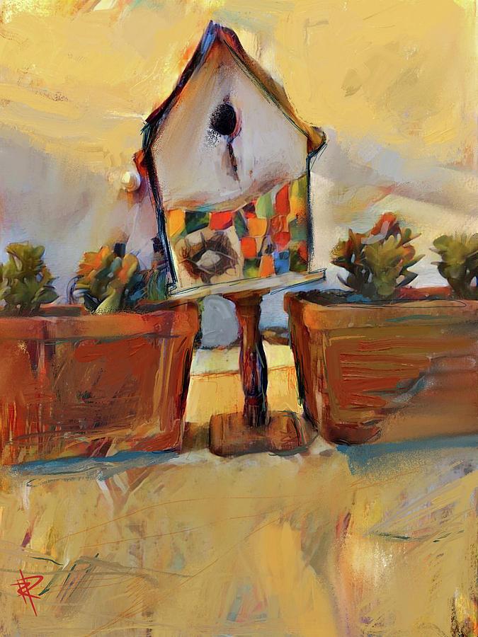 Birdhouse Mixed Media - Barbs Bird House by Russell Pierce