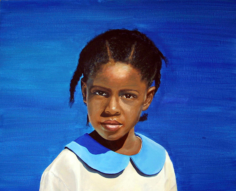 Portrait Painting - Barbuda School Girl by Fiona Jack