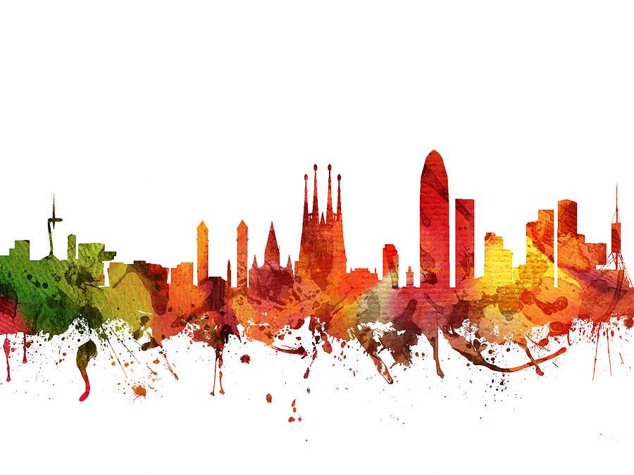 Barcelona Digital Art - Barcelona Cityscape 04 by Aged Pixel