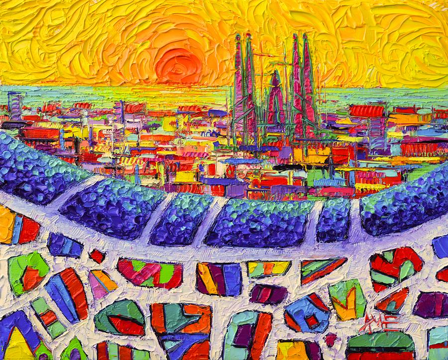 Barcelona Colors From Park Guell Abstract Stylized Cityscape Modern Impressionism Knife Oil Painting Painting By Ana Maria Edulescu