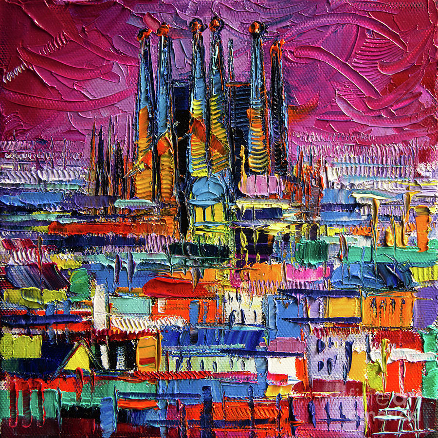 Barcelona Painting - Barcelona Colors Sagrada Familia By Night Modern Impressionist Stylized Cityscape by Mona Edulesco