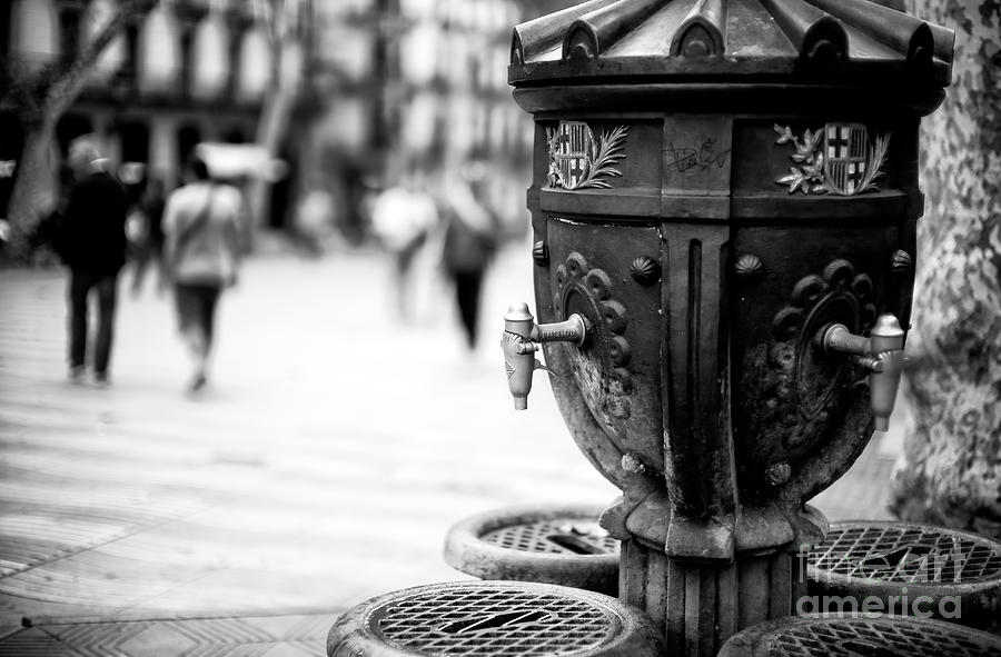 Drinking Fountain Photograph - Barcelona Drinking Fountain by John Rizzuto