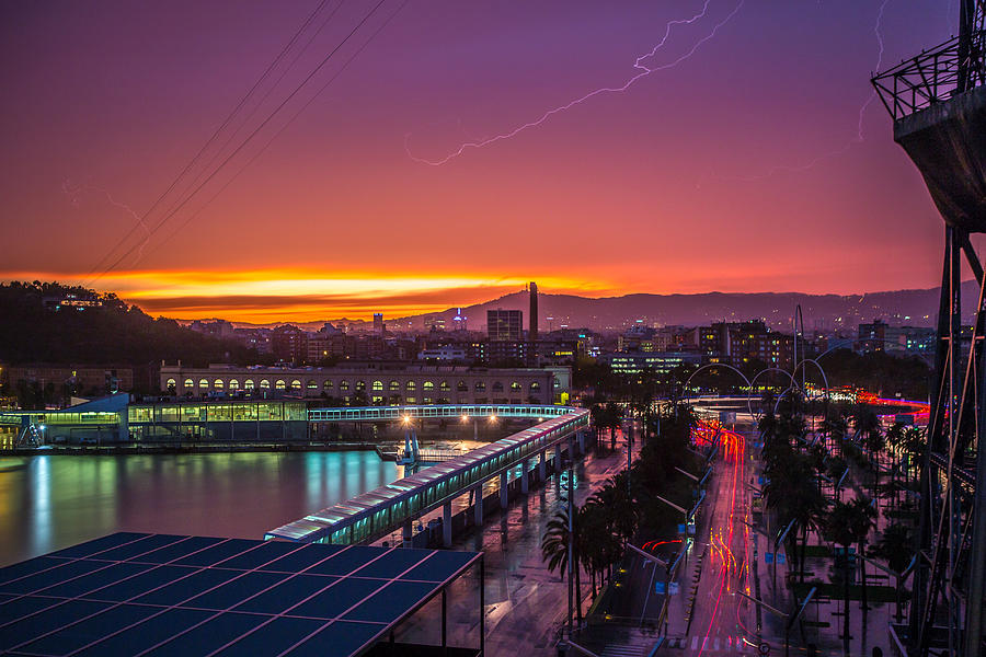 Sunset Photograph - Barcelona Lightning Storm by Ryan McKee