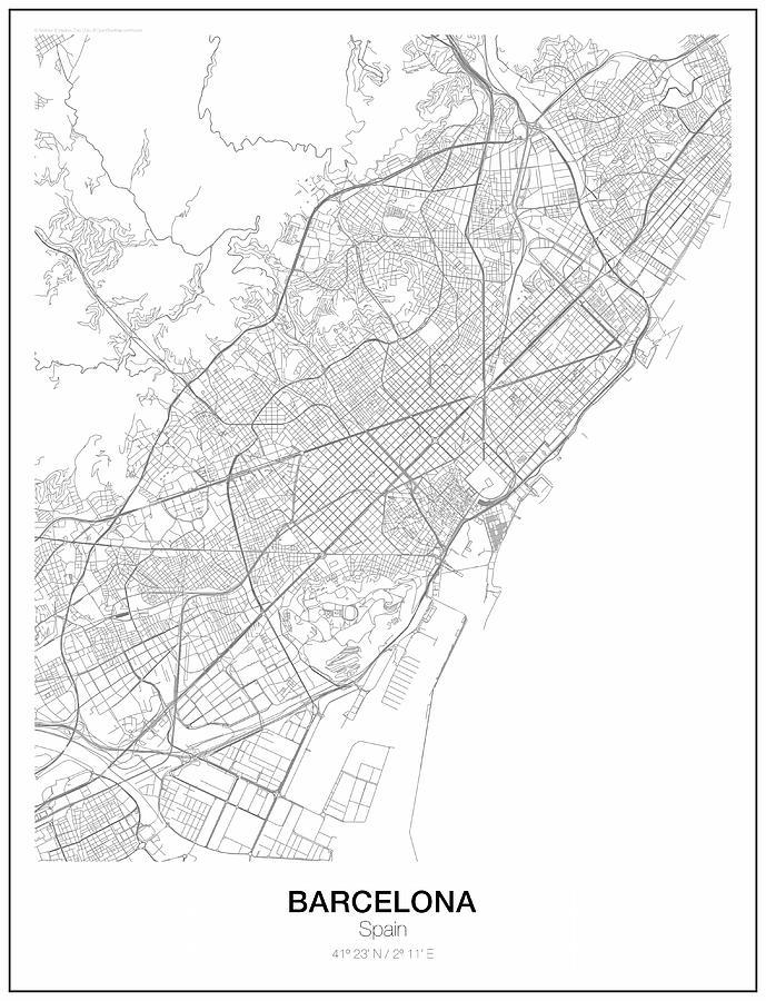 Barcelona Minimalist Map Mixed Media by Lori Hinner