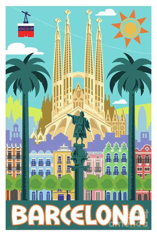 Mid Century Modern Digital Art - Barcelona Poster - Retro Travel  by Jim Zahniser