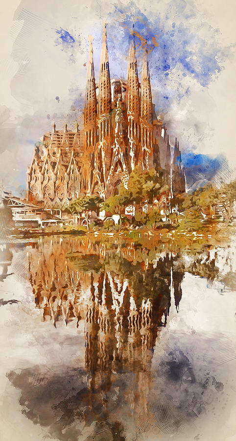 Barcelona Sagrada Familia Watercolor 04 Painting By Am Fineartprints
