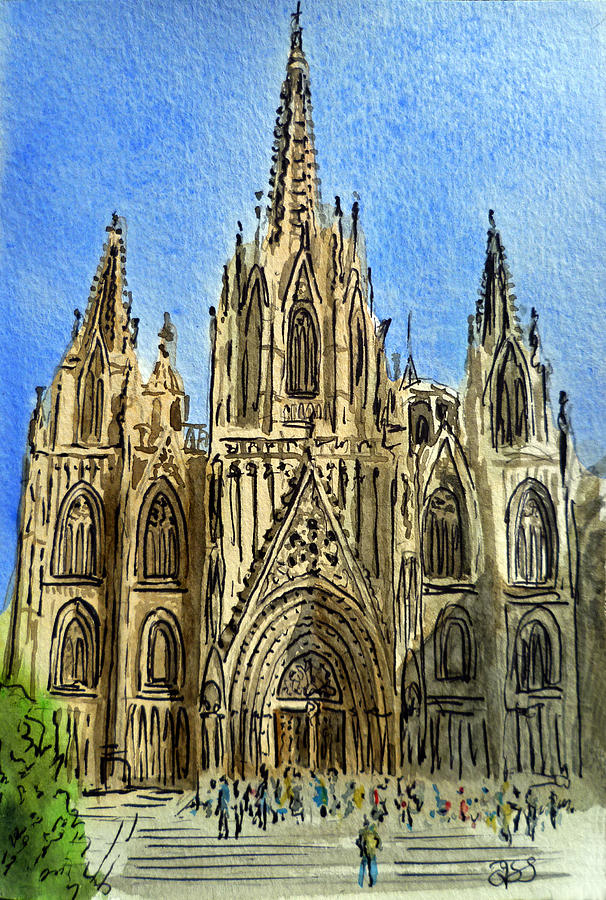 Barcelona Cathedral Painting - Barcelona Spain by Irina Sztukowski