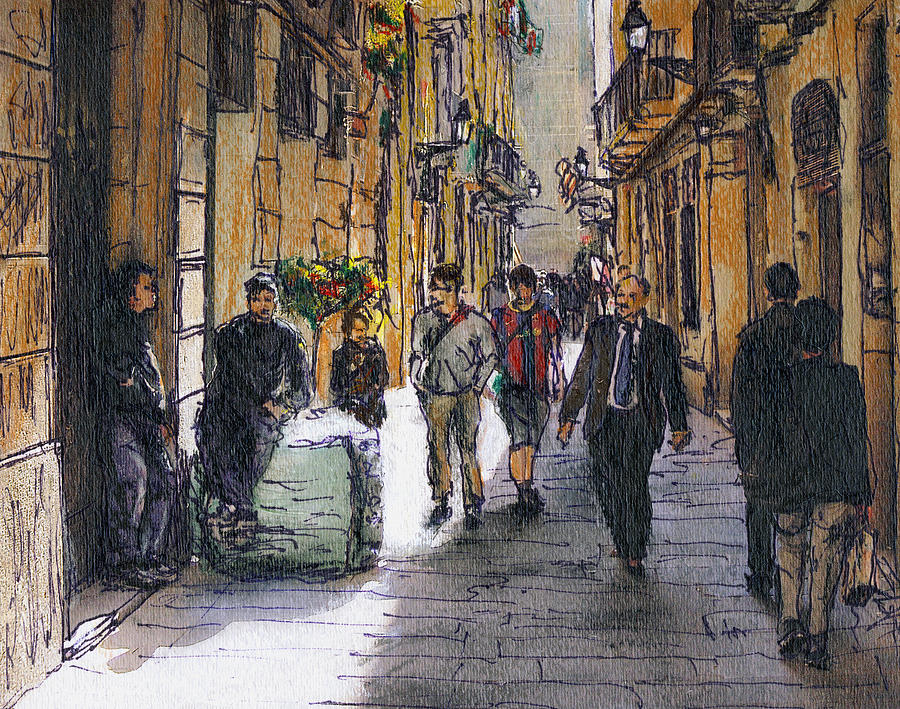 Spain Painting - Barcelona Street Sketch by Randy Sprout