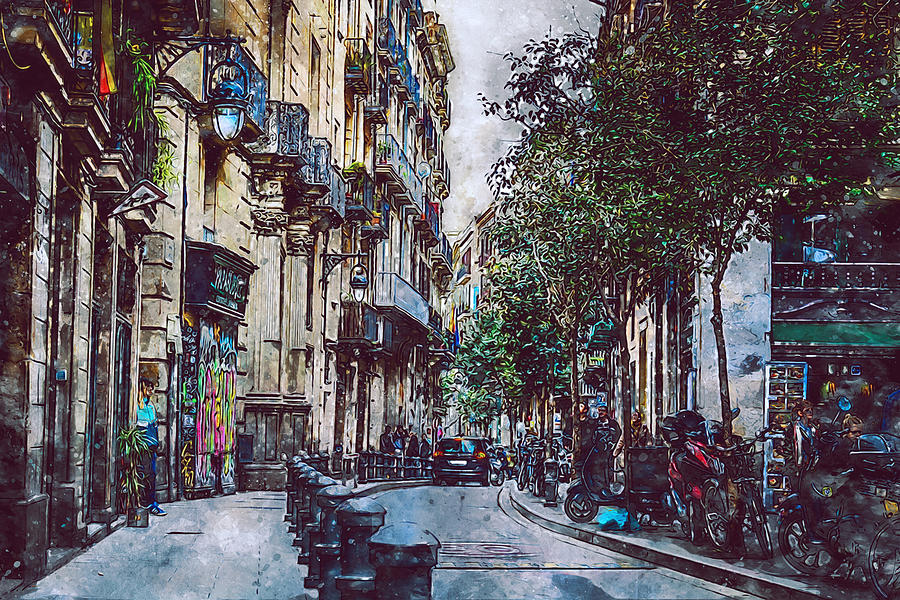 Barcelona Streets 12 Painting By Am Fineartprints