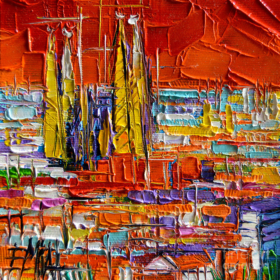 Park Painting - Barcelona Sagrada Familia View From Parc Guell Abstract Palette Knife Oil Painting by Mona Edulesco
