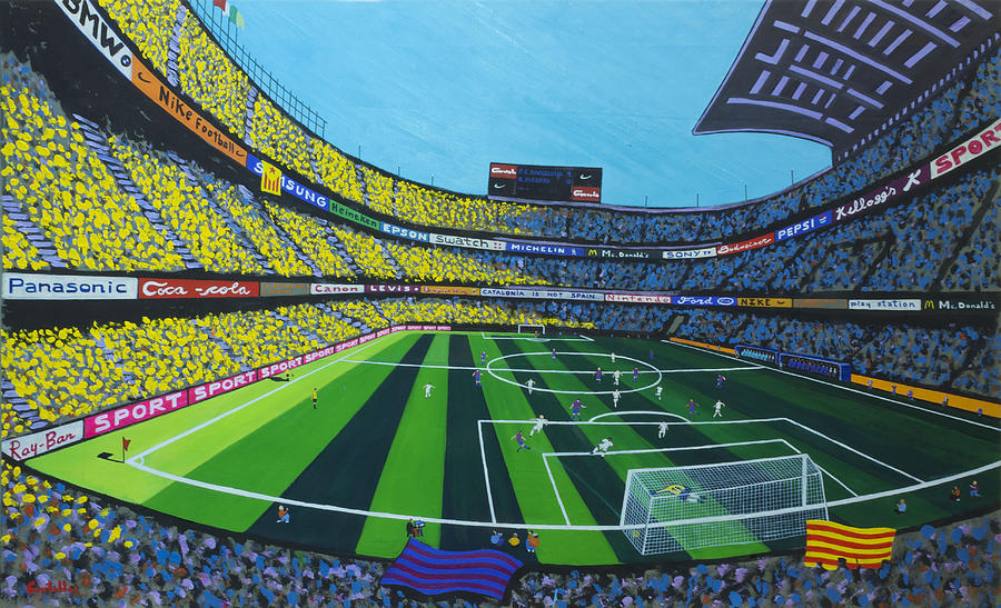 Barcelona Painting - Barcelonas Stadium by Gonzalo Centelles