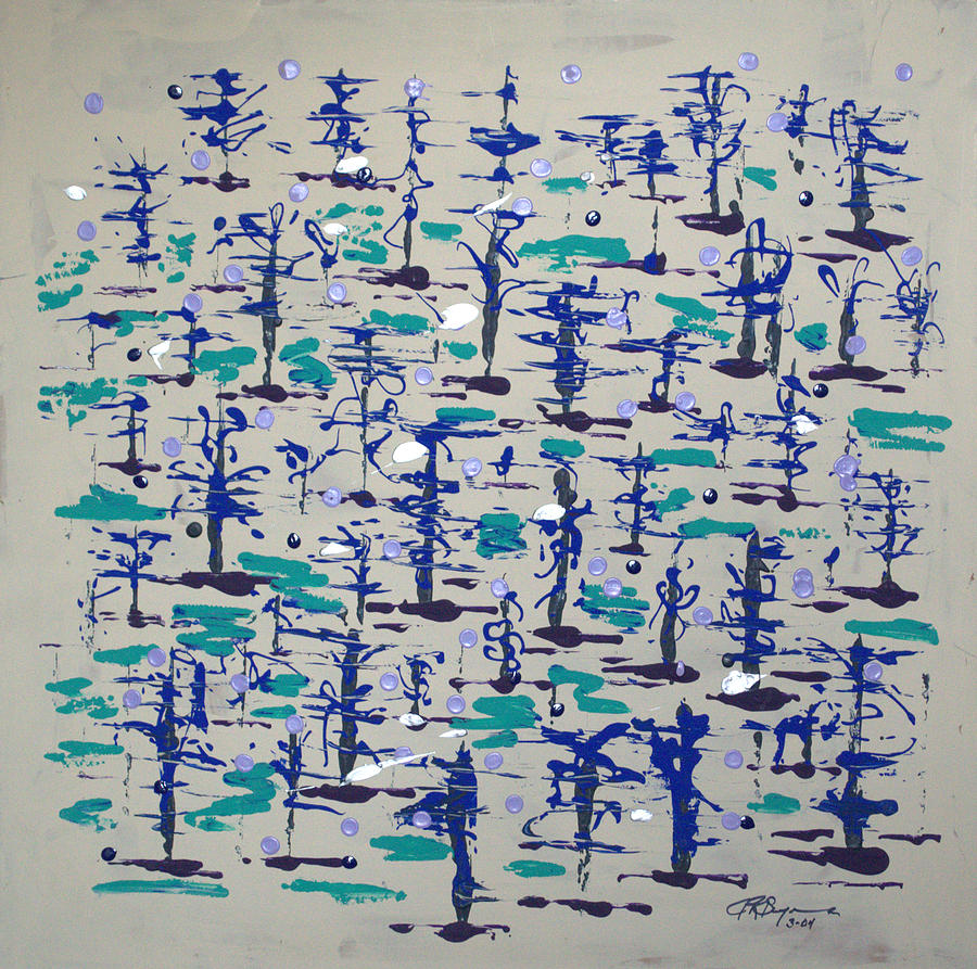 Abstract Painting - Bare Trees by J R Seymour