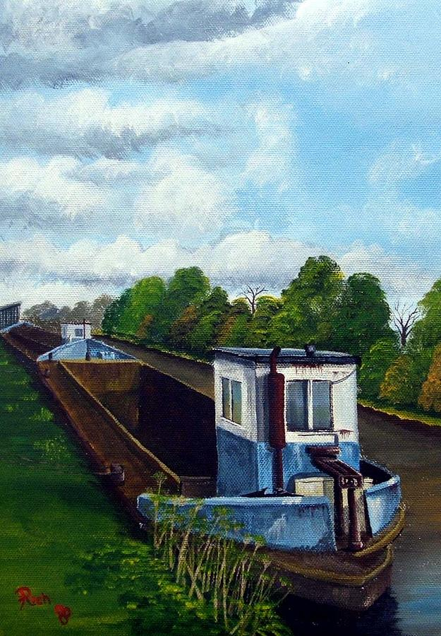 Landscape Painting - Barges On Sharpness Canal by Richard Taylor