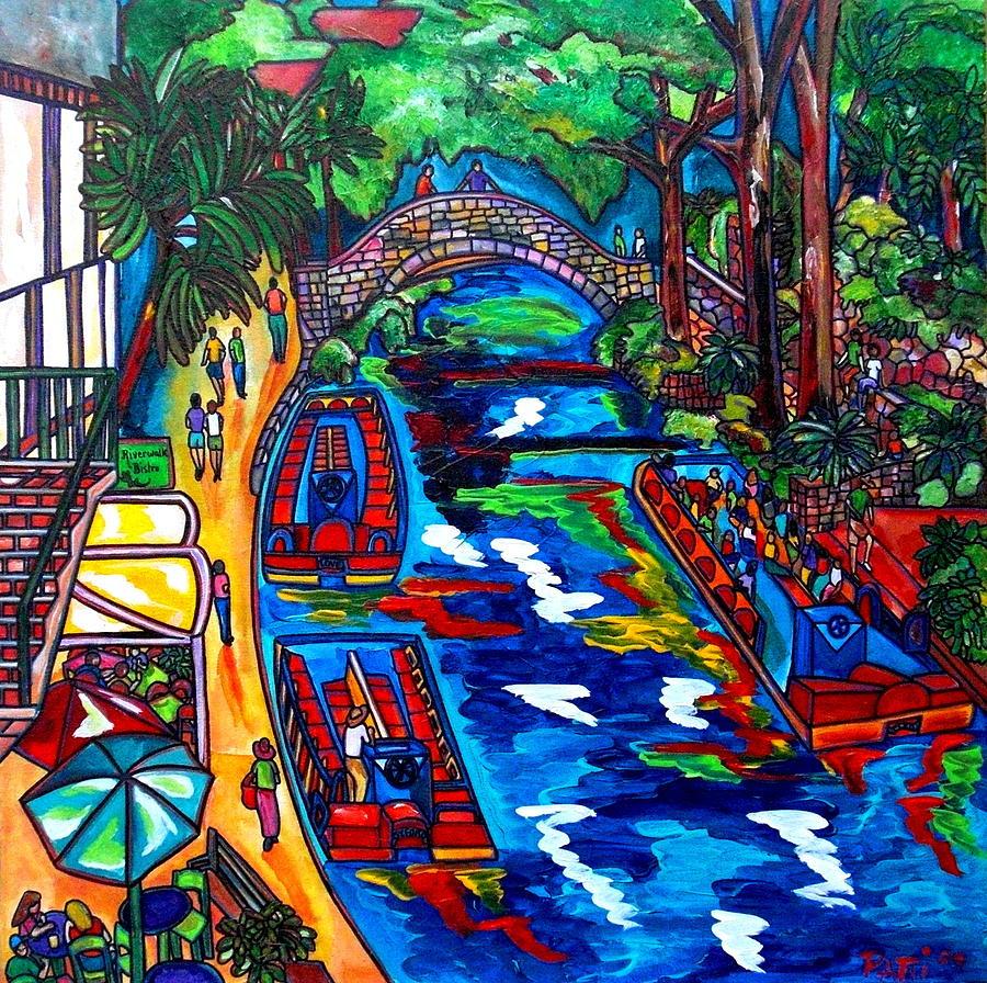 Riverwalk Painting - Barges On The Riverwalk by Patti Schermerhorn